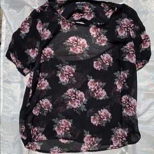 Wet Seal Black floral blouse